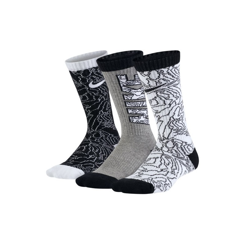 Boys' Nike Graphic Cotton Cushioned Crew Sock (3 Pair)