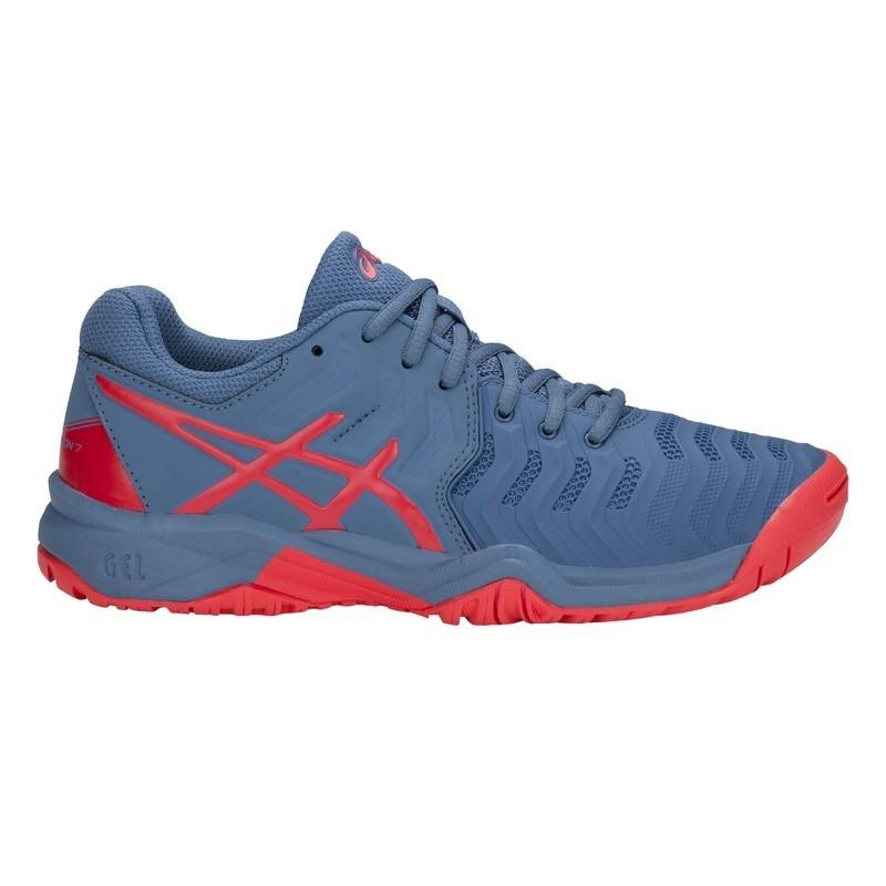 Asics Jr Gel-Resolution 7 Azure/Red Alert Tennis Shoe