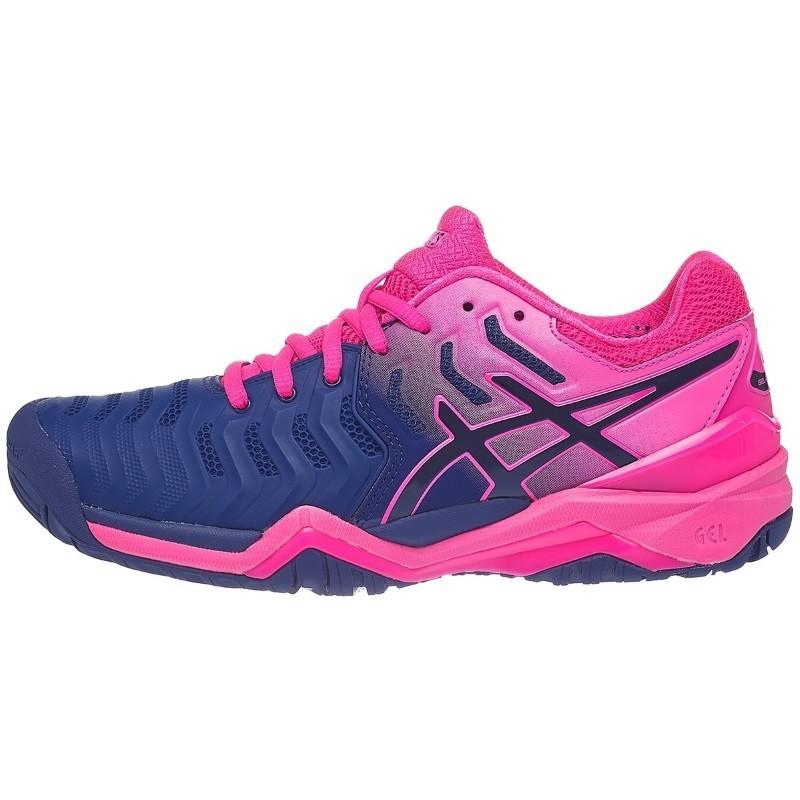 Asics Womens Gel Resolution 7 Μπλε Ροζ Tennis Shoe