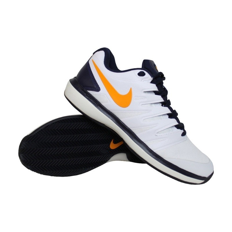 Mens Nike Air Zoom Prestige CLAY Tennis Shoe White Orange
