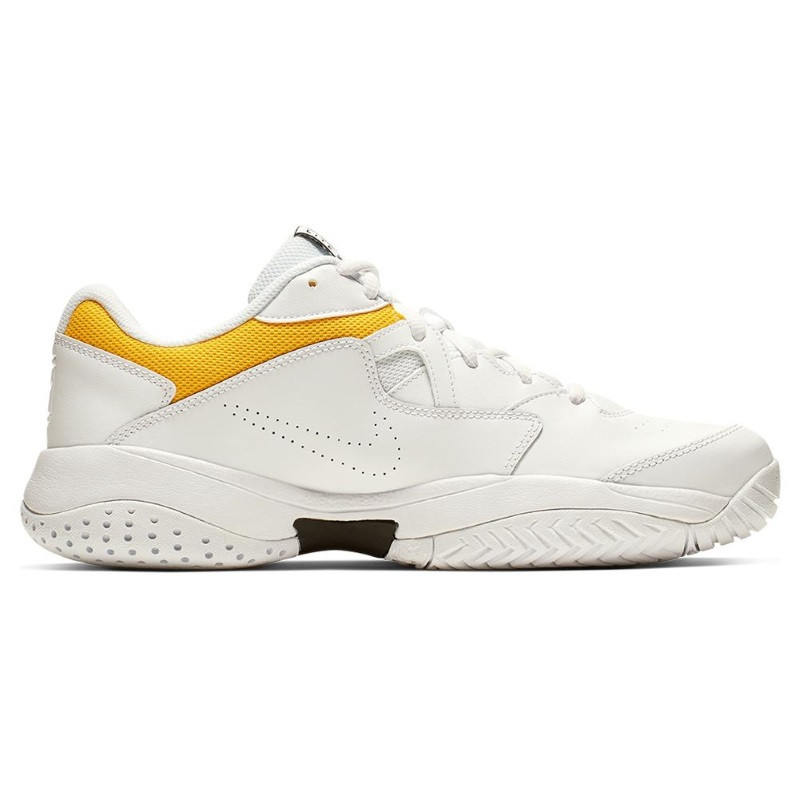 Mens Court Lite 2 Tennis Shoe White Yellow Black
