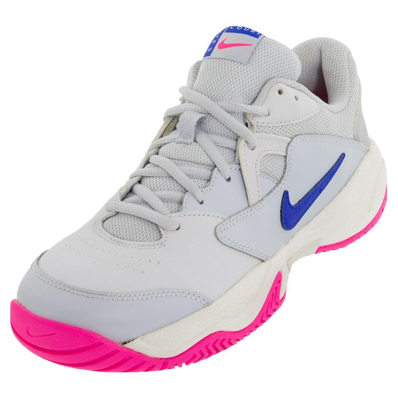 Woens Nike Court Lite 2 Tennis Shoe GREY BLU PINK