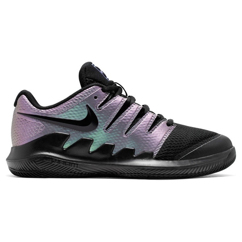 Juniors Nike Air Zoom Vapor 10 Tennis Shoe Black Metal Purple