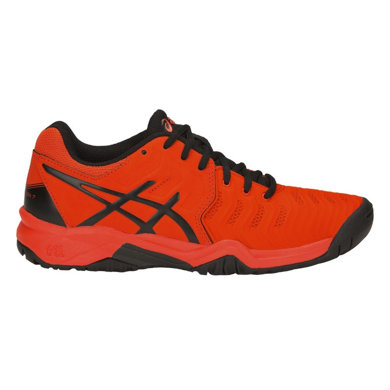 Asics Jr Gel-Resolution 7 Orange Black Tennis Shoe