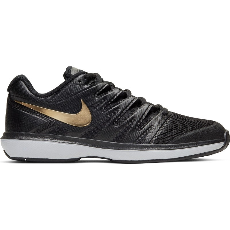 Mens Nike Air Zoom Prestige Tennis Shoe Black Gold