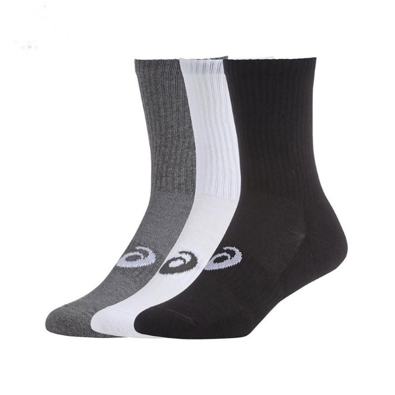Asics Crew 3 Pack BK WH GRY  Socks
