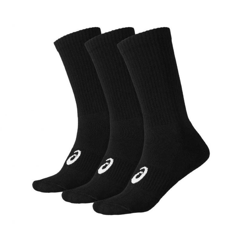 Asics Crew 3 Pack Black Socks 155204