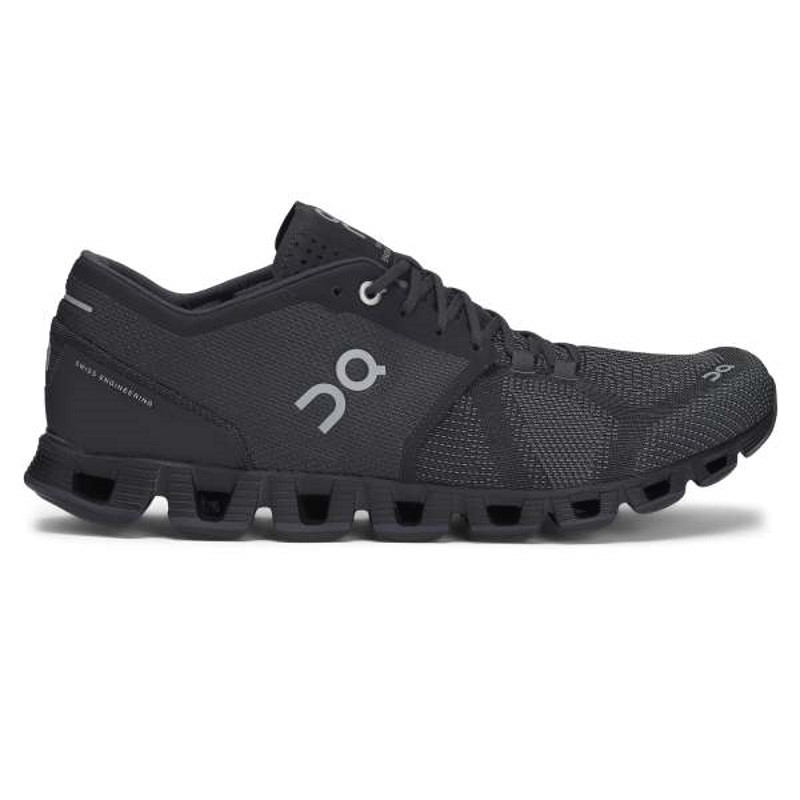ON Mens Cloud X  Running Shoe Black Asphalt