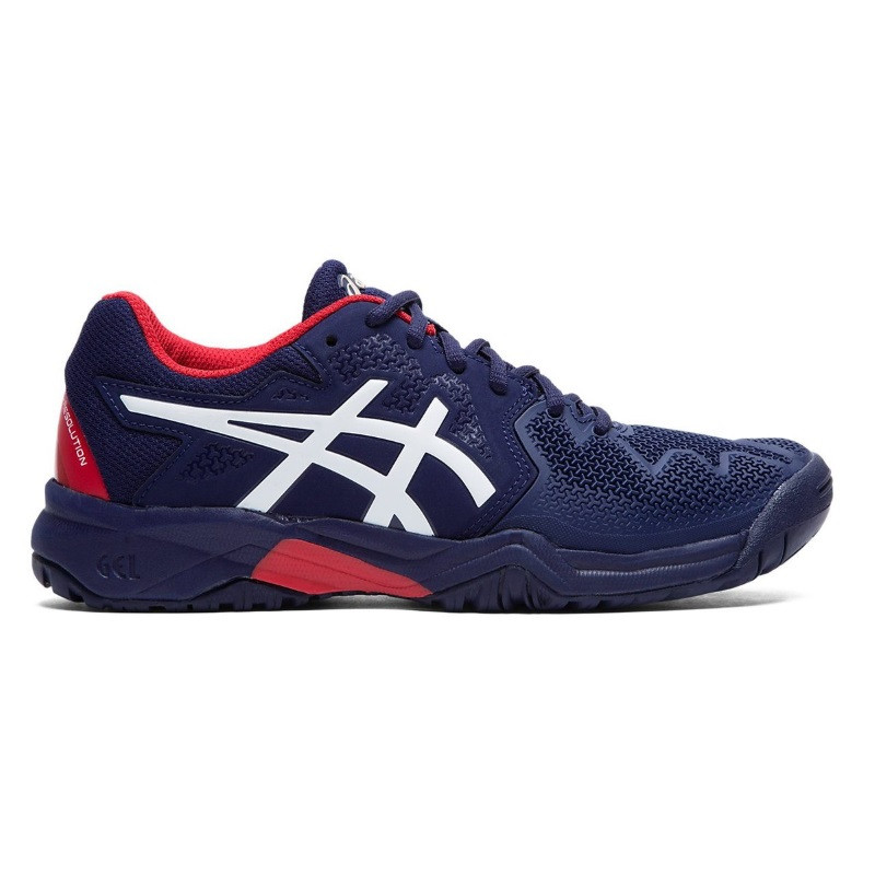 Asics Gel Resolution 8 Jr Tennis Shoes Blue White Red