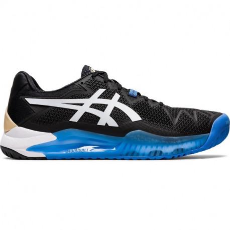 Asics Mens Gel Resolution 8 Tennis Shoes Black White