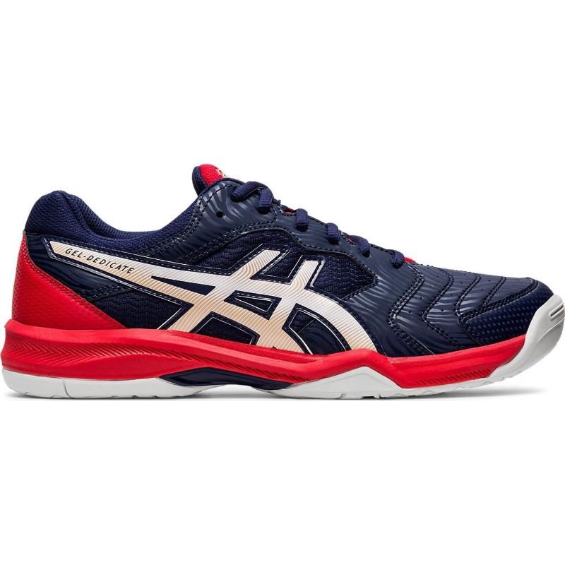 Asics Gel Dedicate 6 Blu White Red Tennis Shoe