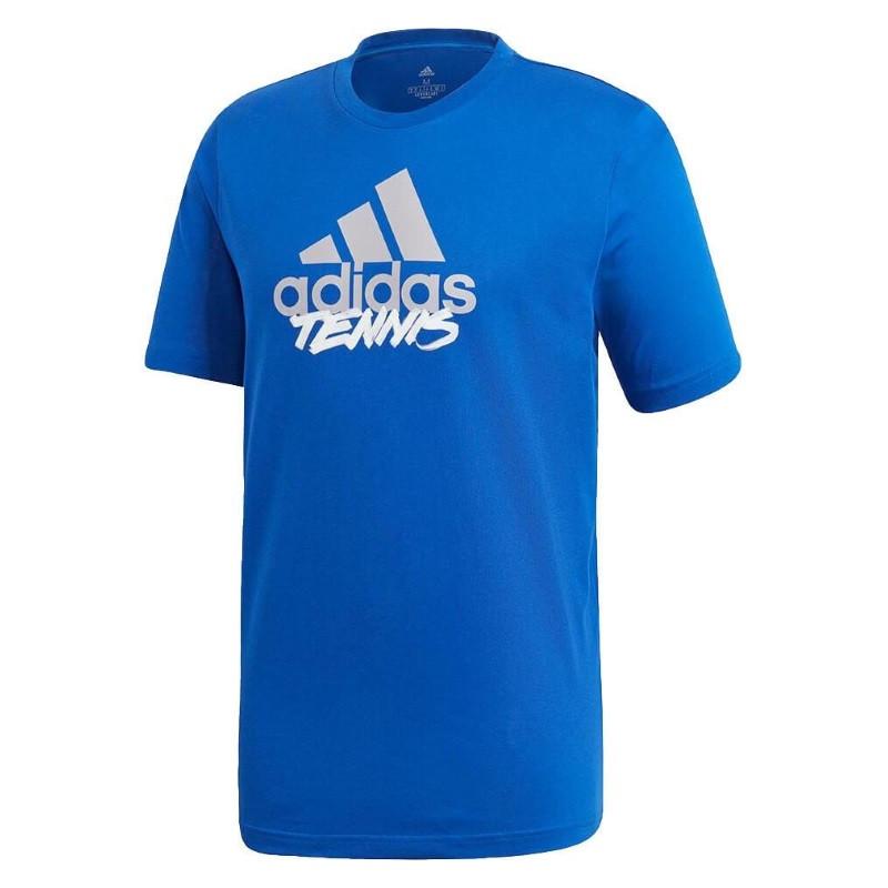 Adidas Mens T Shirt SS Tennis BLU