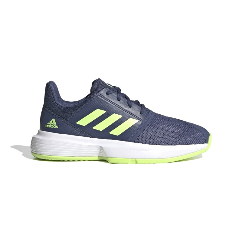 Adidas Junior Courtjam tennis shoe Indigo/Green/White