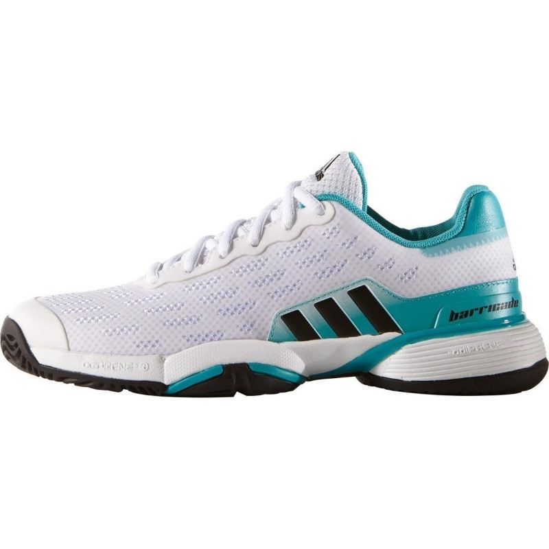 Adidas Barricade Juniors Tennis Shoe White Green Black