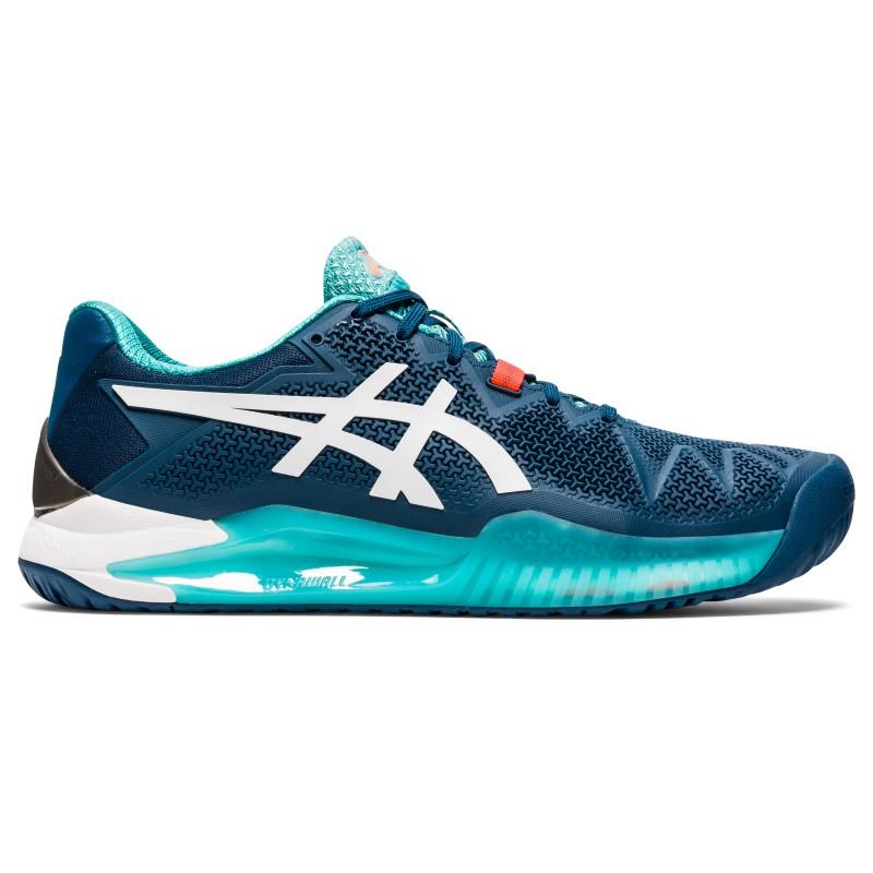Asics Mens Gel Resolution 8 Tennis Shoes Blue White