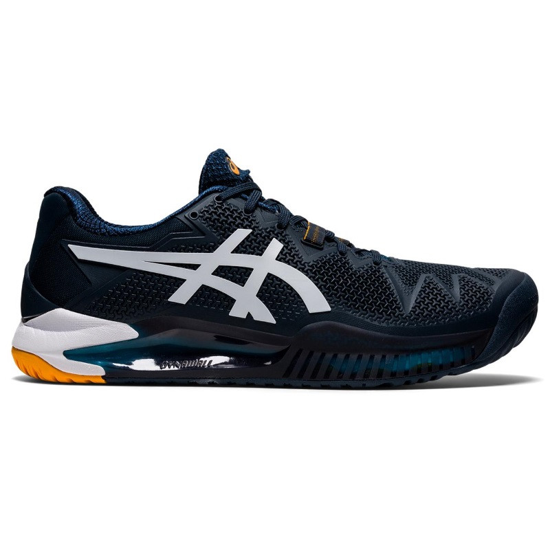 Asics Mens Gel Resolution 8 Tennis Shoes Blue White Orange