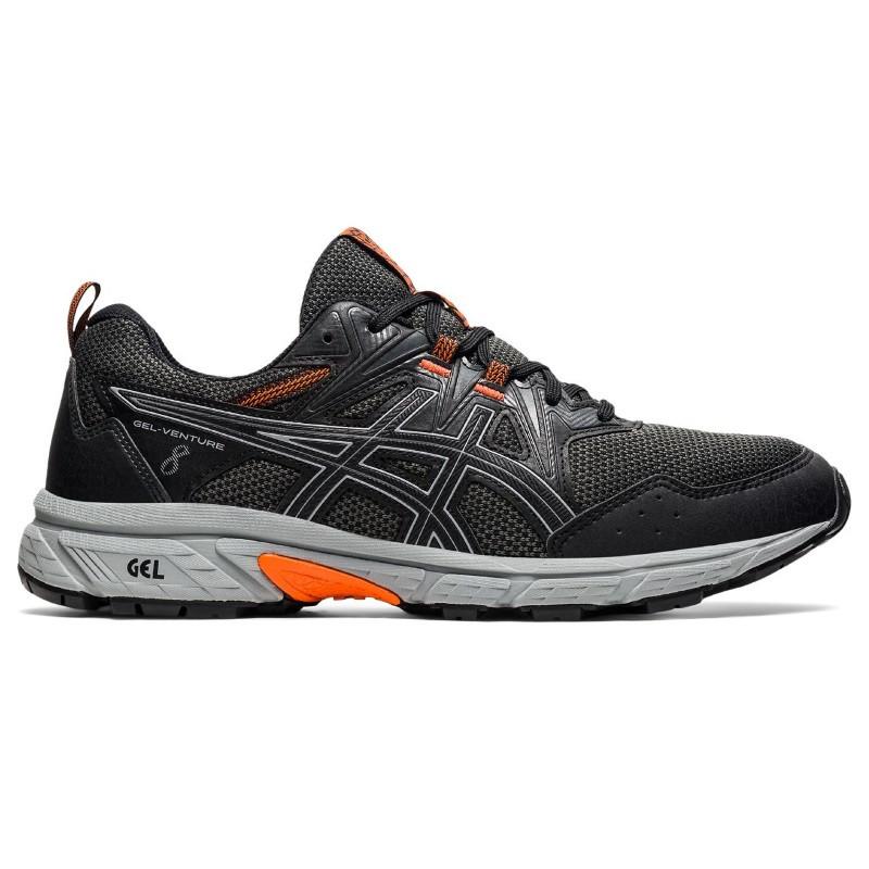 Asics Mens Gel Venture 8 Black Orange Running Shoe