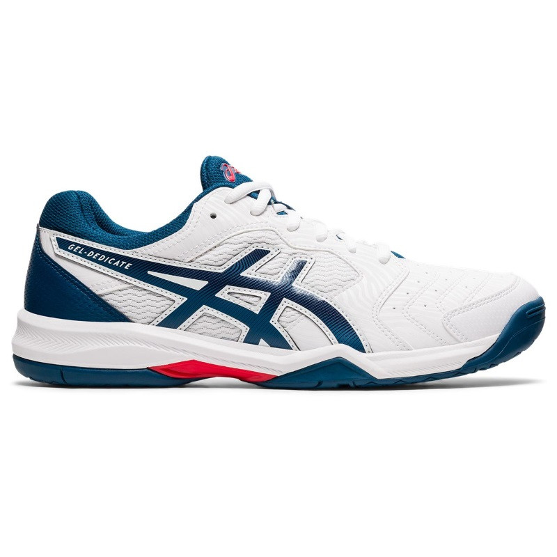 Asics Mens Gel Dedicate 6 White/Blue Tennis Shoe