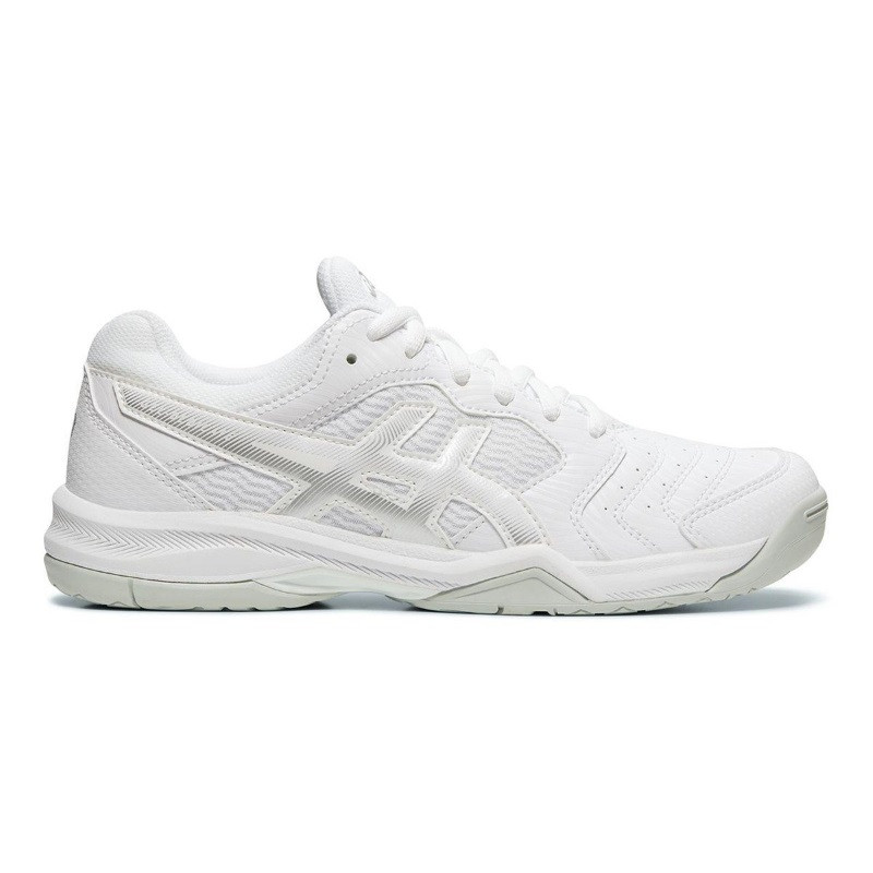 Asics Womens Gel Dedicate 6 White/Silver Tennis Shoe