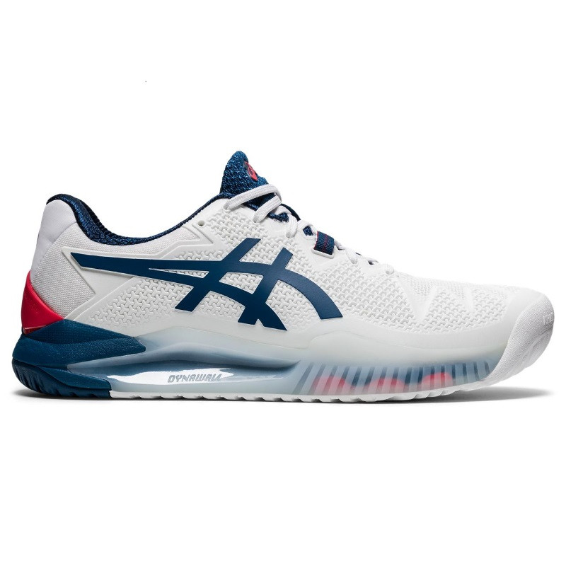 Asics Mens Gel Resolution 8 Tennis Shoes WHITE/BLUE