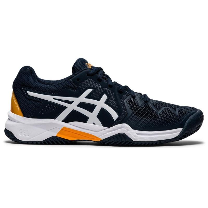 Asics Gel Resolution 8 Jr Tennis Shoes Blue White Orange