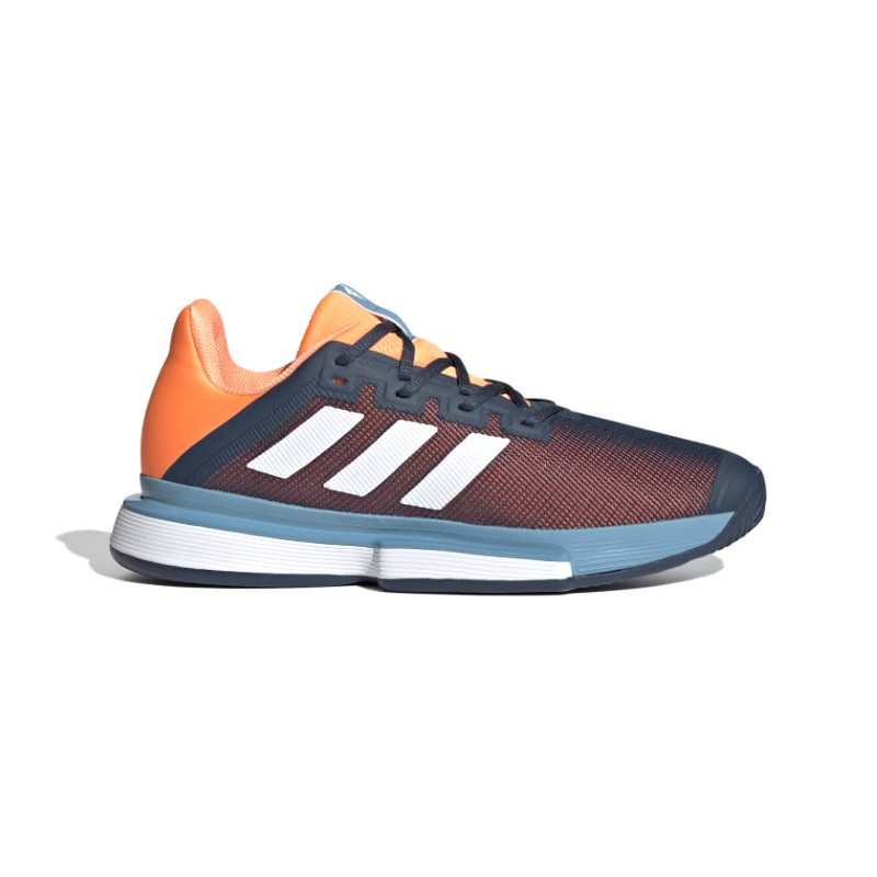 Mens Adidas Solematch Bounce Tennis Shoe Crew Navy Cloud White Screaming Orange