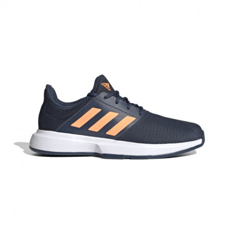 Mens Adidas GameCourt Crew Navy / Screaming Orange / Cloud White Tennis Shoe
