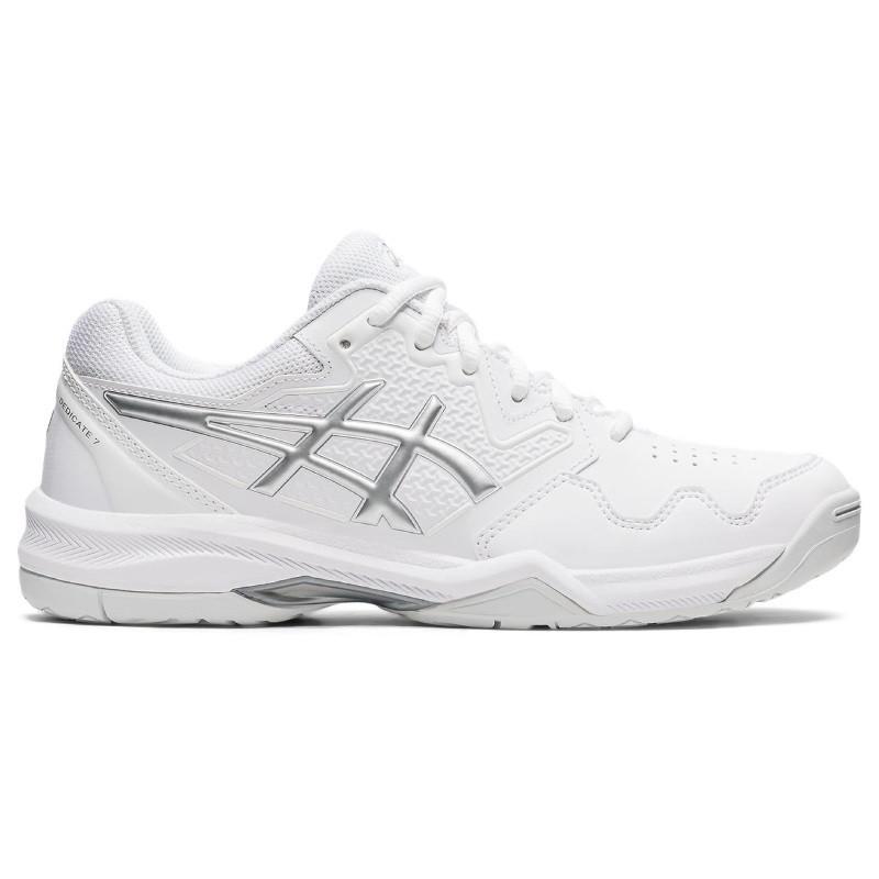 Asics Womens Gel Dedicate 7 White Silver Tennis Shoe