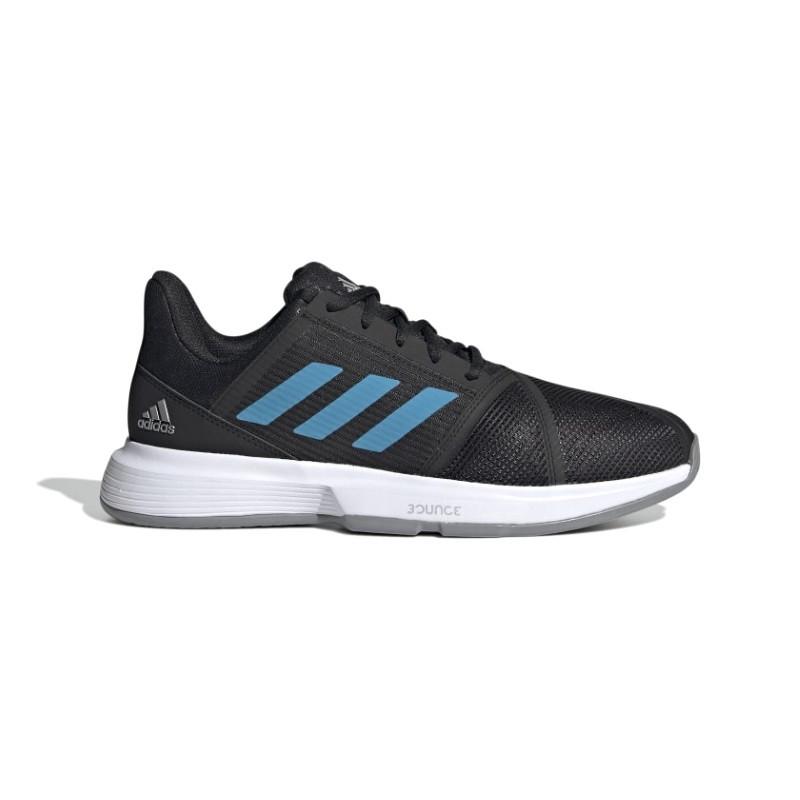 Mens Adidas CourtJam Bounce Tennis Shoe Black Blue