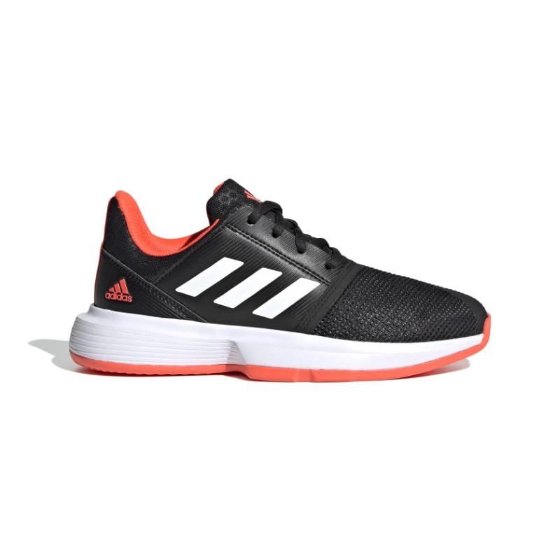 Adidas Juniors Courtjam tennis shoe Black White Red
